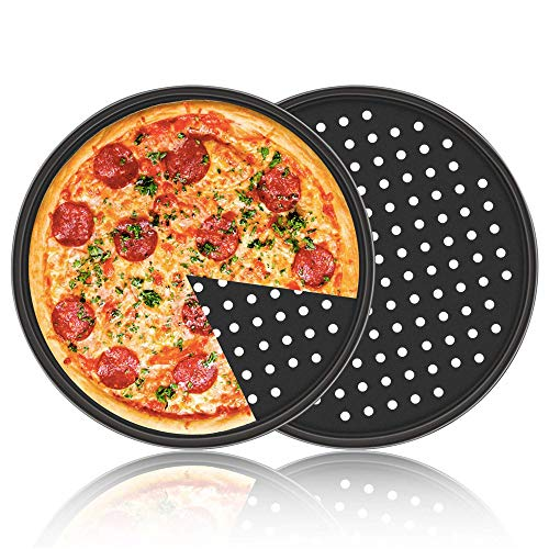 LARRY SHELL 2 Pack Pizza Pans Carbon Steel Perforated Baking Pan mit Nonstick Coating 12 Inch Round Pizza Crisper Tray Tools Bakeware Set