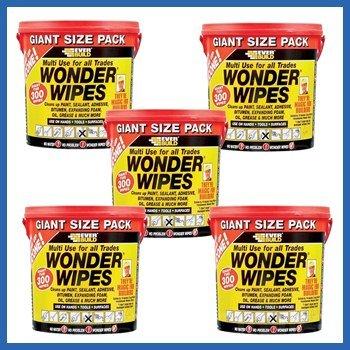 Price comparison product image 5 X Everbuild Giant Wonder Wipes Multi Purpose Hand Wipes - 300 Tub