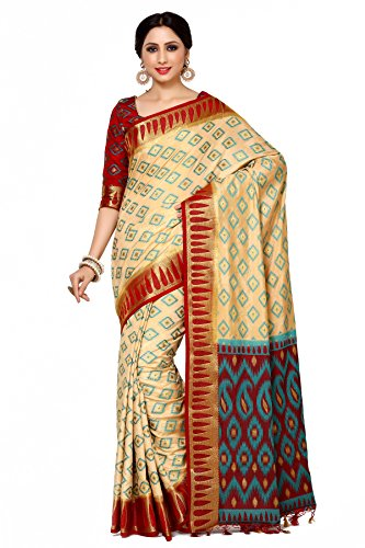 Mimosa By Kupinda Women's Art Silk Saree Patola Style Color : Beige...