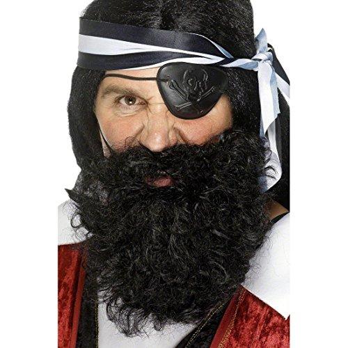 Piraten Bart Vollbart Schwarz Piratenbart Bart schwarzer Kunstbart Faschingsbart falscher ()