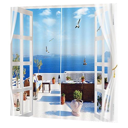 dicht Vorhang Verdunklungsvorhang Verdunklungsgardinen mit Hacken,65x30 zoll,für Küche Wohnzimmer Kinderzimmer Schlafzimmer - Weißer Balkon (Küche Vorhänge Meer)