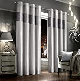 "Intimates Luxury Velvet Bling Silver Pattern Ringtop/Eyelet Pair of Curtains (Silver, 90"" x 72"")"