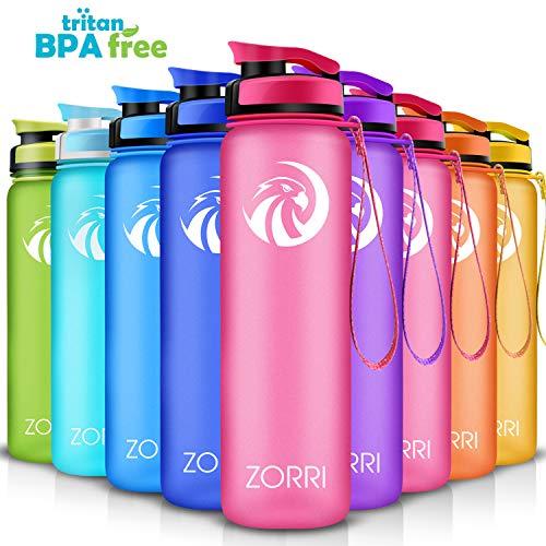 ZORRI Sport Trinkflasche auslaufsicher, BPA Frei & Umweltfreundlich Wasserflasche Für Kinder & Frauen, One Handed Open & Tritan, Für Gym/Outdoor/Camping - Rosa - 800ml