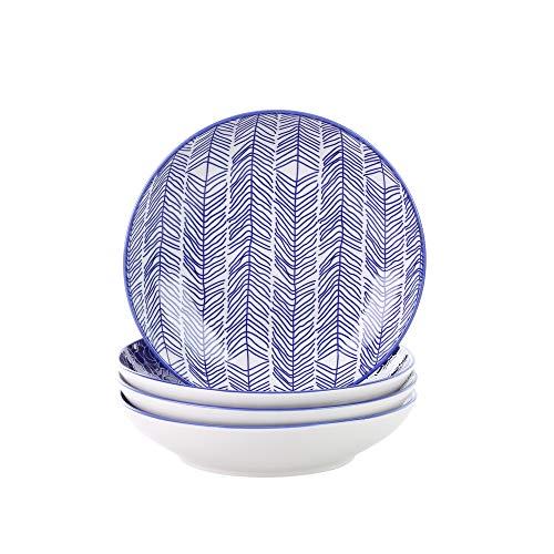 Vancasso, série Takaki, Assiette Creuse, 4 pièces, en Porcelaine, Style Japonais