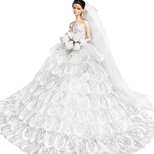 1b48b8ac53d9 WayIn® Splendido abito fatto a mano da sposa fatta su misura per la bambola  di Barbie Bianco