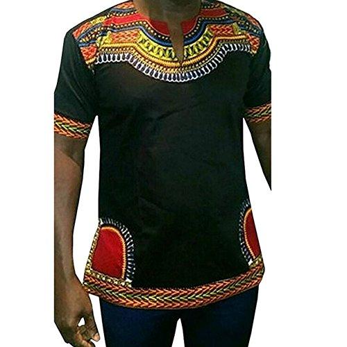 Haodasi Herren Retro Kostüme afrikanisch National Stil Kurzarm T-shirt (Kostüme Indische Asiatische)