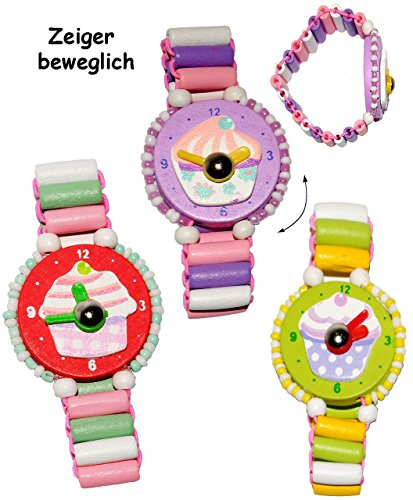 1 Stück _ Armbanduhr / Kinderuhr - ' Muffin - bunt ' - aus Holz - bewegliche Zeiger ! - Lernuhr mit Armband - Uhr für Kinder - Mädchen & Jungen - Holzarmbanduhr -...