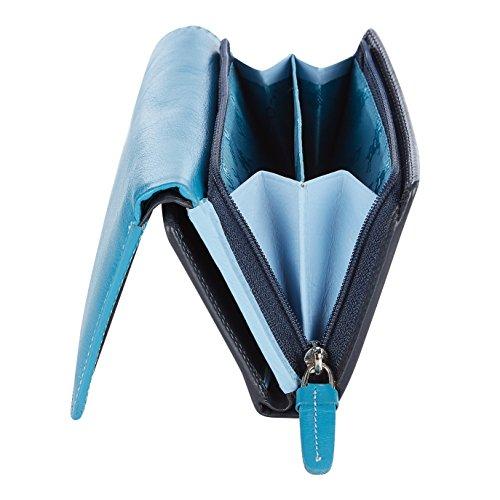 """Visconti portafoglio di pelle da donna a piegatura tripla""""Rainbow"""" multicolore Multicolor Purse (RB43): (toni del blu (blue multi)) toni del blu (blue multi)"""