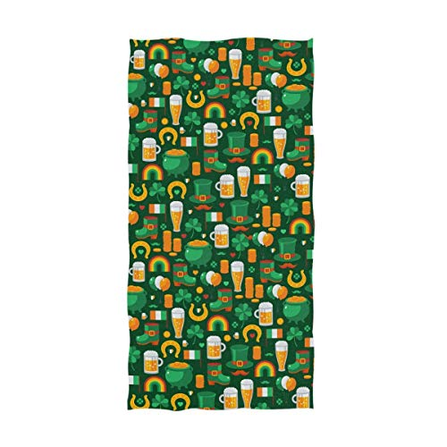 YOWAKi Stylish St. Patrick's Day Irish Flag Shamrock Leprechaun Hat Coin Pattern Soft Hand Towels for Bathroom, Hotel, Gym and Spa 12