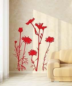 00649 Adesivi murali ''Astri selvatici'' - Stickers adesivi - 94x120 cm - Rosso - Decorazione parete, adesivi per muro, carta da parati
