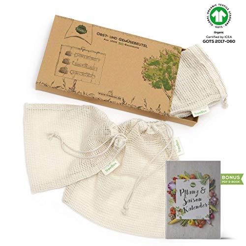 TreeBox Einkaufsnetze für Obst und Gemüse aus 100% Bio-Baumwolle (GOTS) - 3er Set - Mit Gewichtsangabe - Überaus langlebig - FSC® zert. Verpackung Bambu Bio-bambus