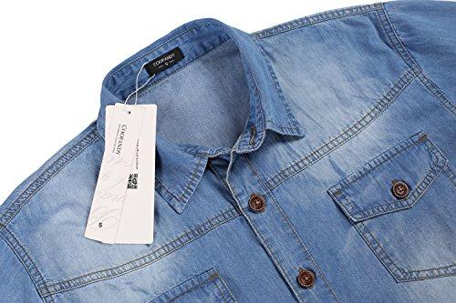 Coofandy Herren Jeanshemd Regular Fit 4 Farben Figurbetont Denim Freizeit Langarm Jeanshemden mit Tasche 31-Skyblue