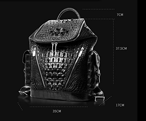 lpkone-Motif Crocodile Sacs à bandoulière pour les hommes d'affaires en vrac mode sac à dos Sac de voyage sac homme loisirs Black