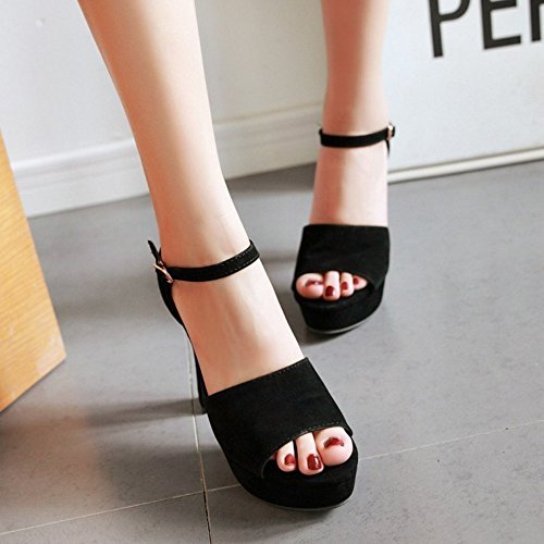 TAOFFEN Femmes Elegant Peep Toe Sandales Bloc Talons Hauts Sangle De Cheville Chaussures Noir