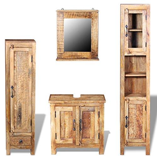 Festnight Badkommode aus Mango-Massivholz Badmöbel-Set Badezimmermöbel-Set inkl. Waschbeckenunterschrank, Spiegel und 2 Badschränke
