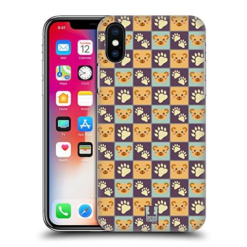 Head Case Designs Panda Pattern Animali E Impronte Cover Retro Rigida per Apple iPhone X Orso