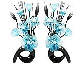 Flourish 794538 - Lot de 2 vases avec fleurs artificielles 32 cm Bleu sarcelle