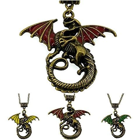 Dragon Pendant Necklace Daenerys Targaryen Yellow, Red & Green Enamel Coated GIFT Set of 3 Pcs