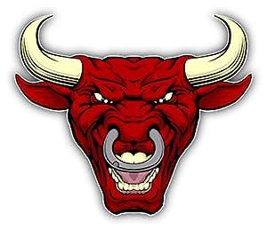 Angry Red Bull Head Mascot Decor Autocollant De Voiture Vinyle 12 X 10 cm