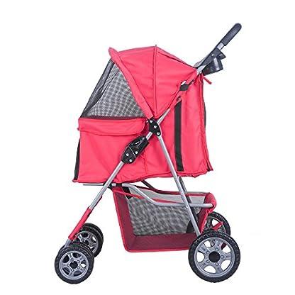BTM Pet Travel Stroller Dog Puppy Pram Jogger Cat Pushchair with 4 Swivel Wheels (Red) 2