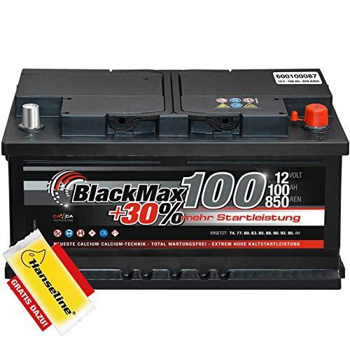 BlackMax+30{e824b55f62e31dce07d372ce4c6f97ef9a408b476c2d20bf41cd537fe90a5b39} - 12 V / 100 Ah - 870 A/EN Autobatterie KFZ PKW Batterie inkl. Polfett