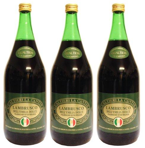 Lambrusco rosso dolce Gualtieri Dell`Emilia IGT (3 X 1,50 L) - Vino Frizzante - Roter Süßer...