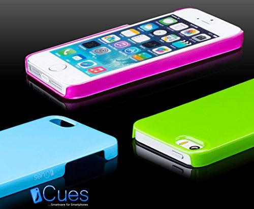 iCues Apple iPhone SE / 5S / 5 |  Liquid Design Case Neon Grün | [Display Schutzfolie Inklusive]  Schutzhülle Hülle Cover Schutz Blau