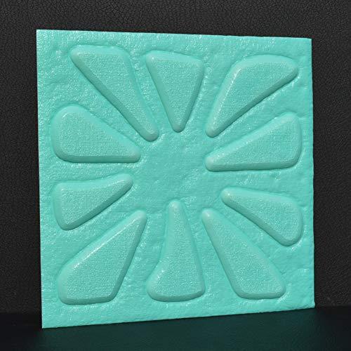 HX stickers 3D Auto-adhésif Configuration Florale Autocollants, False Mousse Surface du Mur en Cuir Panneaux muraux Fond de canapé pour Les Murs TV-Bleu Clair