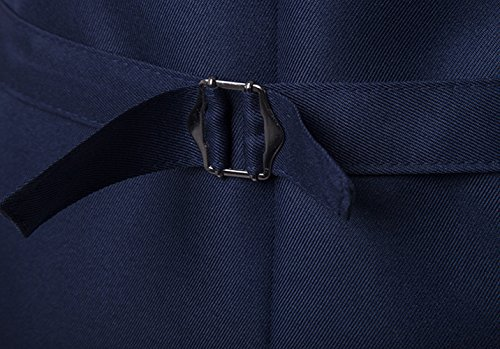 JOLIME Herren Weste Anzugweste Gentleman Silm Fit Schicke Einreihig V-Ausschnitt Herrenweste Marineblau