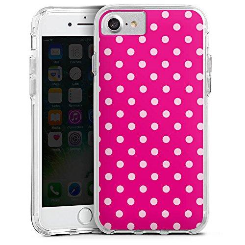 Apple iPhone 6s Bumper Hülle Bumper Case Glitzer Hülle Polka Dots Polka Pünktchen Pink Bumper Case transparent