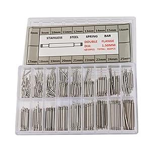 Tinksky Federsteg Uhren-Werkzeug für Uhrarmband-Wechsel Uhrmacher in 18 verschiedenen Größen 8mm – 25mm (Silber)