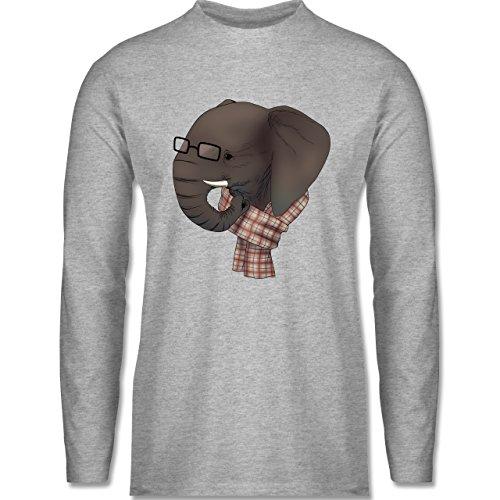 Shirtracer Hipster - Hipster Elefant - Herren Langarmshirt Grau Meliert