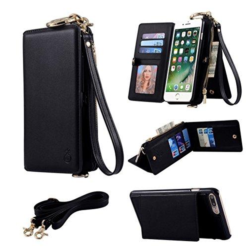 iPhone 7 Case,Custodia per iPhone 8,Ticase Multifunzionale Borsa di PU Pelle Premio Custodia [Staccabile][Antiurto] Flip Caso Protettiva Cassa del Portafoglio con Cordoncino per iPhone 8 (2017) and iP Nero