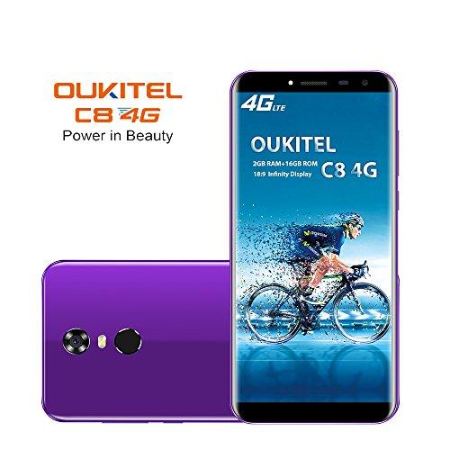 OUKITEL C8 4G Smartphone (5.5 Zoll 18:9 Verhältnis Vollbild) 3000mAh Android 7.0 Quad-Core 2GB RAM+16GB ROM 13MP+9MP Dual Kamera Dual SIM Handy Ohne Vertrag-Lila