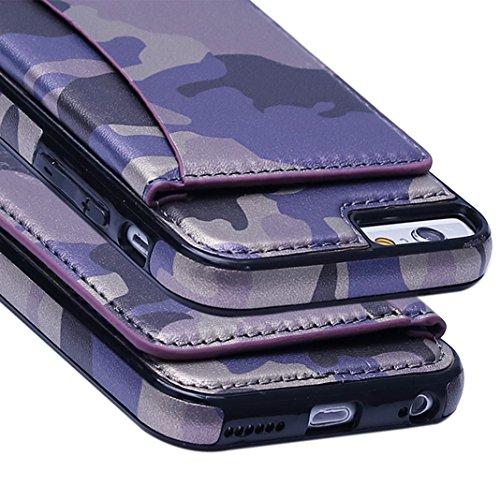 iPhone 6 Plus Silicone Case,Asnlove Custodia Cover Ecopelle Camouflage TPU Silicone Suave Gomma Anti Shock Cover Morbido Pelle Funzione e Carta di Credito Slot Supporto TPU Posteriore Back Shell Skin  Porpora