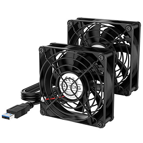 ELUTENG Ventilatore USB 80mm Dual 5V USB Fan Raffreddamento PC Ventole 2700RPM 32CFM Mini Ventilatore con Griglie Metalliche per PS4/TV Box/Router/Xbox/PlayStation
