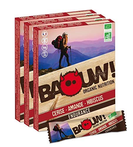 Baouw! Organic Nutrition – CERISE AMANDE HIBISCUS - Barres nutritionnelles & énergétiques 100% bio pour le sport ou un encas sain - vegan - sans gluten - crues - 12 barres x 30g