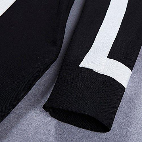 HLBandage Women Deep V Neck Long Sleeve Bodycon Bandage Dress Noir