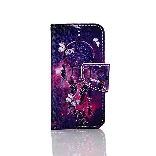 iPhone SE Hülle,iPhone 5S Hülle,iPhone 5 Hülle, SainCat PU Leder Hülle Wallet Case Ledertasche Brieftasche handyhülle im BookStyle Folio Schutzhülle Painted Muster Hülle Bling Glitter Diamant Bumper H Schmetterling Campanula