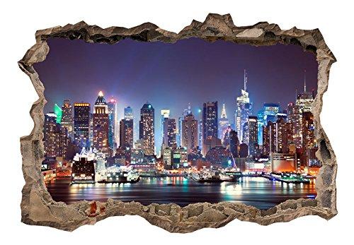 murando – Illusion d'optique 3D – 210x150 cm – Papier peint intissé – Tableaux muraux – Déco – Trou dans le mur – New York Ville City d-C-0056-t-a