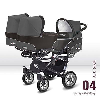 Carro trillizos. 3 capazos + 3 sillas + 3 portabebes grupo 0. Color gris+negro.