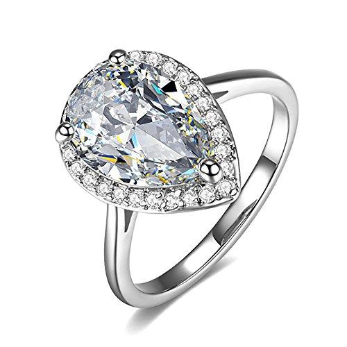 Umode teardrop halo pera taglio 4?carati, con zirconia cubica, anello di fidanzamento per le donne, ottone