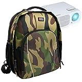 Duragadget Sac à Dos résistant à l'eau Motifs Camouflage pour Excelvan GM60 Mini Projecteur VidéoProjecteur Portable & TOQIBO HD 1080P - Compartiments modulables