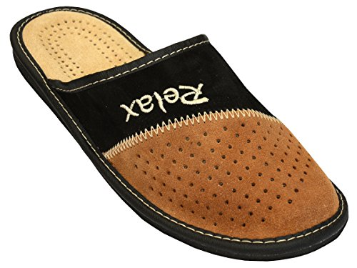 BeComfy Herren Hausschuhe Leder Pantoffeln Supermen Schwarz Geschenkkarton (Wahlweise) Modell MI04 (40 EU, Schwarz-Beige)