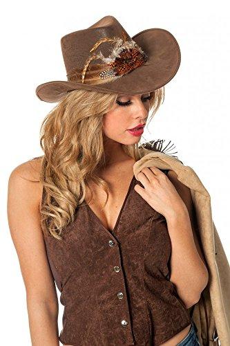Brauner Cowboyhut mit Federn Luxusausführung Wildleder-Optik Damen Western Cowgirl (Zubehör Kostüme Cowboy Hut)