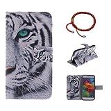 GOCDLJ Schutzhülle für Samsung Galaxy S5 Mini PU Leder Flip Cover Tasche Ledertasche Handytasche Hülle Handyhülle Case Etui Schale Wallet Ständerfunktion Shell Design Weißer Tiger