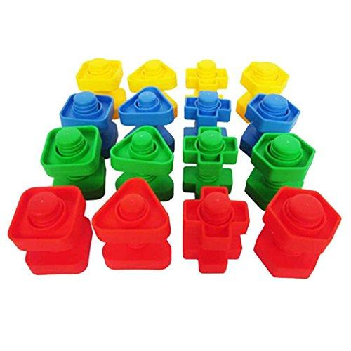 Preisvergleich Produktbild ELENXS 16 Paare Schrauben Plastikbaustein Einsetzmutter Spiel Figur Kinder Kid Betrieb Spielzeug Puzzle Spielzeug Modellbau