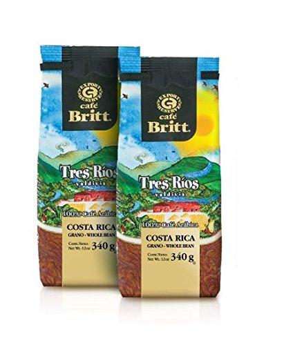 Cafe Britt Costa Rica Tres Ríos Valdivia Arabica ganze Bohne Kaffee, 2 Packungen (340 g jede Packung)