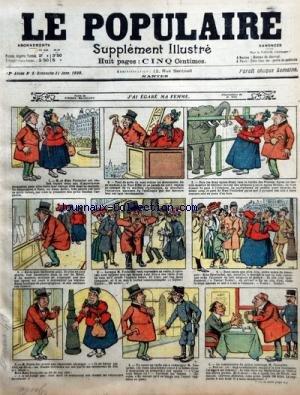 POPULAIRE ILLUSTRE (LE) [No 5] du 31/01/1909 - J'AI EGARE MA FEMME PAR H. DIG ET P. BEAULIEU PRECAUTION INUTILE PAR NADAL LA LECON DE BOXE - CARTE POSTALE DESSIN DE B. HALL LE CAISSIER INFIDELE PAR ALEX par Collectif