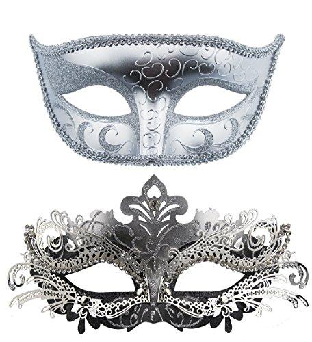 Paar Masquerade Metall Masken venezianischen Halloween-Kostüm Maske Mardi Gras Maske Sliver+Sliver-Black (Womens Butterfly Halloween Kostüme)